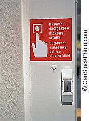botão vermelho, para, emergência, rolo, puxar-acima, ligado, parede, modernos, segurança, detalhes