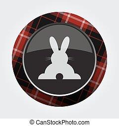 botão, vermelho, pretas, tartan, -, coelho, vista traseira, ícone