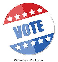 botão, -, vetorial, eleição, voto, dia