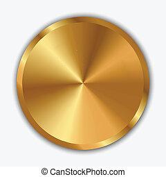 botão, vetorial, ilustração, ouro