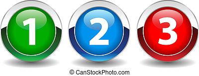 botão, vetorial, números