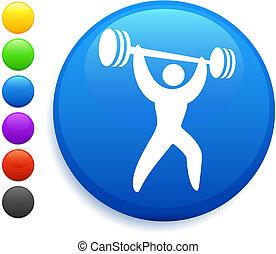 botão, weightlifter, ícone, redondo, internet