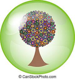 botón, árbol, colorido