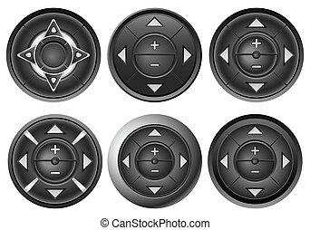 botón, 2, conjunto, multimedia