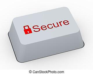 botón, 3d, seguro, teclado