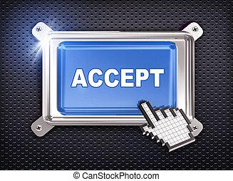 botón, -, aceptar, mano, cursor, 3d