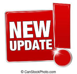 botón, actualización, diseño, nuevo, rojo, icono