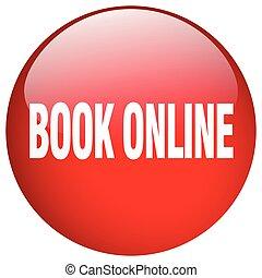 botón, aislado, libro, en línea, empujón, redondo, rojo, gel