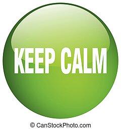 botón, aislado, retener, verde, calma, empujón, redondo, gel