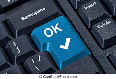botón, aprobar, computadora, keyboard.