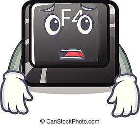 botón, asustado, f4, forma, caricatura