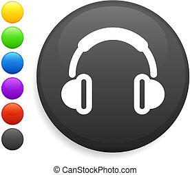 botón, auricular, icono, redondo, internet