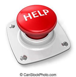 botón, ayuda, rojo