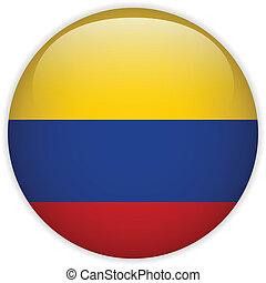 botón, bandera, colombia, brillante