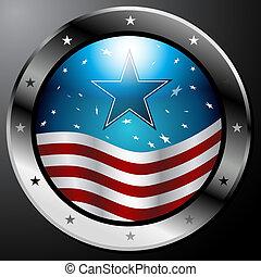 botón, bandera, norteamericano