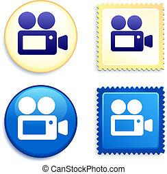 botón, cámara video, estampilla