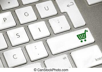 botón, carro de compras, teclado