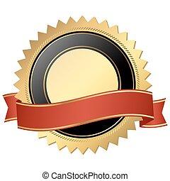 botón, cinta de oro