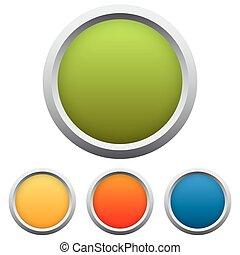 botón, colección, 4, colores