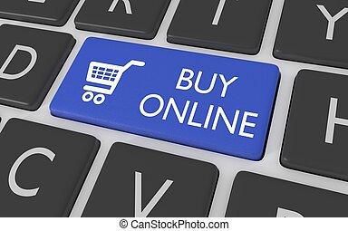 botón, comprar, en línea