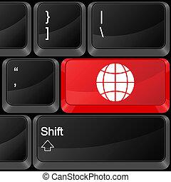 botón, computadora, globo