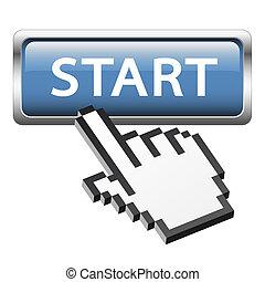 """botón, con, 3d, pixel, gráfico, mano, """", comienzo, """""""