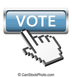 botón, con, 3d, pixel, gráfico, mano, voto