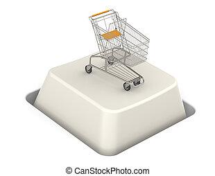 botón, con, carro de compras