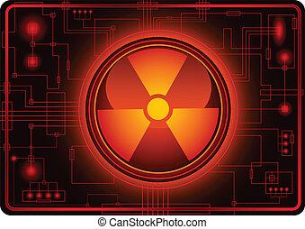 botón, con, nuclear, señal
