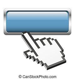 botón, con, pixel, mano