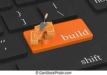 botón, concepto, construya, teclado