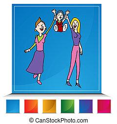 botón, conjunto, adopción, lesbiana, alegre