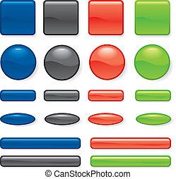 botón, conjunto, diferente, forma