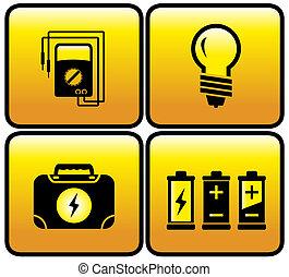 botón, conjunto, eléctrico, brillante