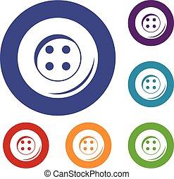 botón, costura, conjunto, iconos