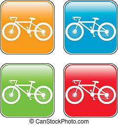 botón, cuadrado, bicicleta, icono,  internet