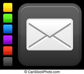 botón, cuadrado, email, icono, internet