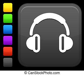 botón, cuadrado, icono de internet, auriculares