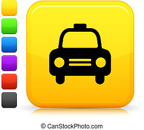 botón, cuadrado, icono, taxi, taxi, internet