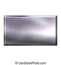 botón, cuadrado, plata, 3d