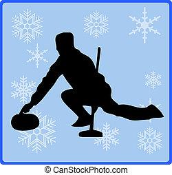 botón, curling, juego, invierno