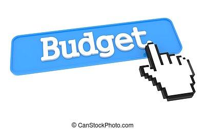 botón, cursor., presupuesto, mano
