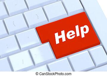 botón de la ayuda, en, rojo, en, un, moderno, plata, teclado