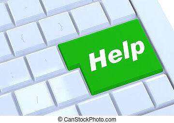 botón de la ayuda, en, verde, en, un, moderno, plata, teclado