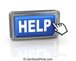 botón de la ayuda, -, mano, cursor, 3d