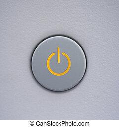botón de la energía, en, computer.