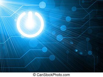 botón de la energía, en, fondo digital