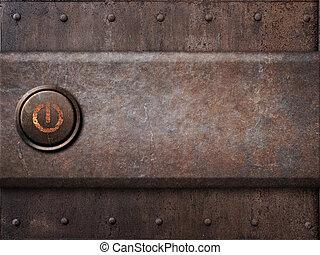 botón de la energía, en, metal oxidado, textura, como, vapor, punk, plano de fondo