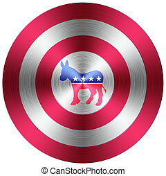 botón, demócratas, metálico