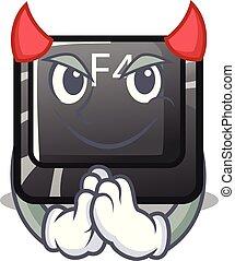botón, diablo, f4, forma, caricatura